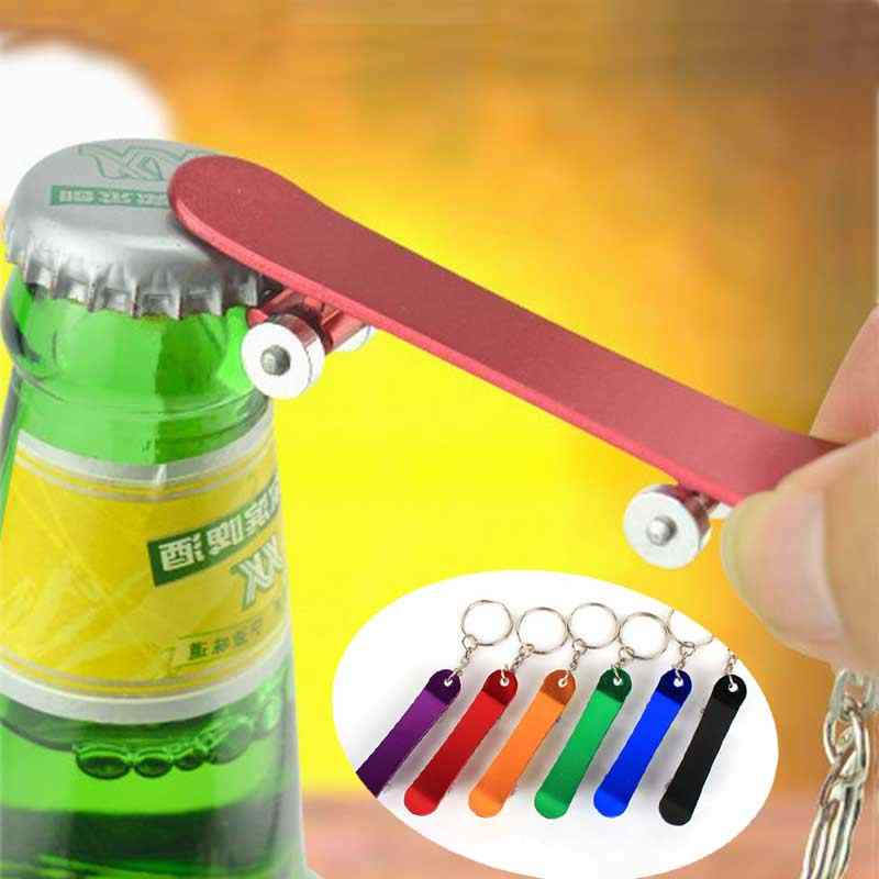 Skateboard Car Key Ring Multifunction Beer Bottle Opener Key Buckle Keychain Aluminum Can Customized Logo Wedding Favor Gifts
