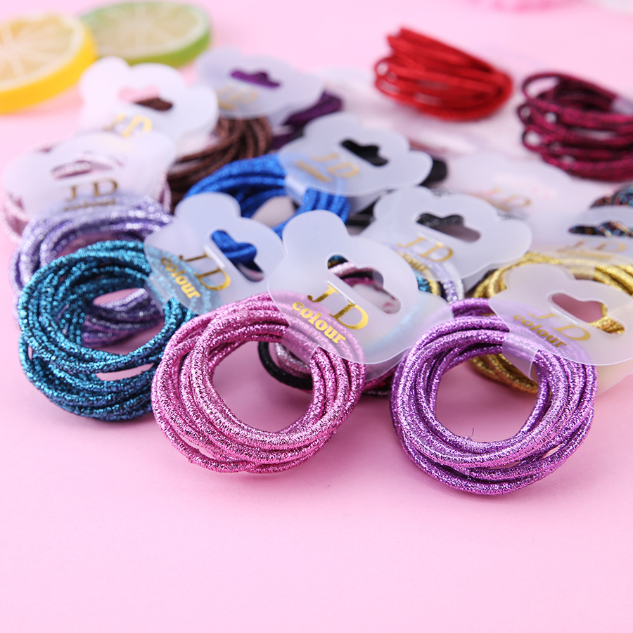 10pcs/lot  Cute Girl Ponytail Hair Holder Hair Accessories Thin Elastic Rubber Band For Kids Colorful Hair Ties