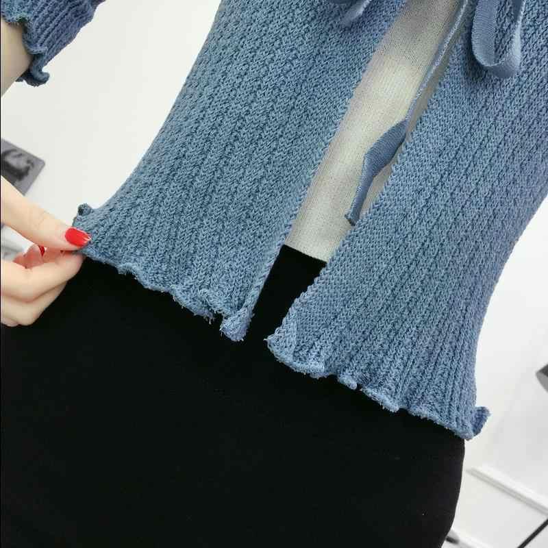 2019 Для женщин с длинным рукавом теплый вязаный кардиган блузка эластичный Street Wear тянуть женский кардиган Для женщин женский пиджак Офис ПР Леди