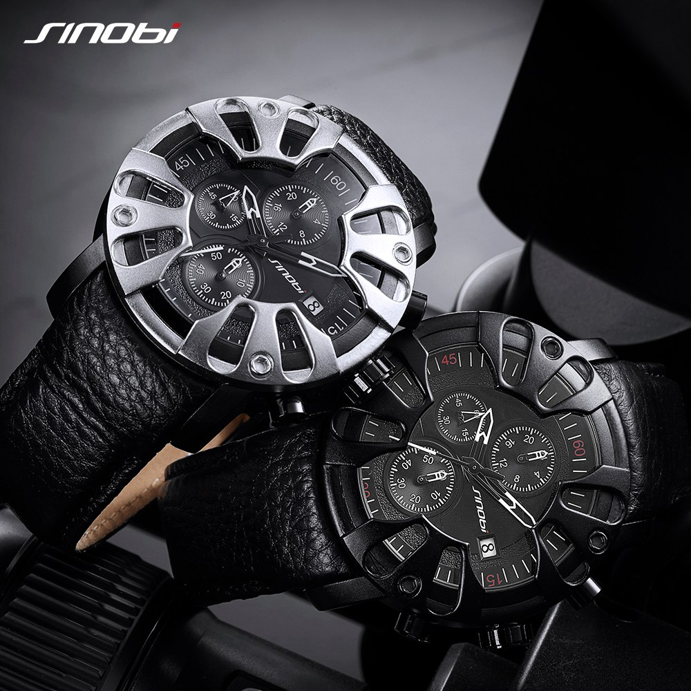 SINOBI Мужские спортивные часы S шок кварцевые часы Творческий Орлиный коготь мужские кожаные военные Водонепроницаемый часы Relógio Masculino