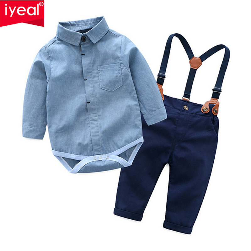 IYEAL Fashion Wedding Birthday Party Baby Boys Clothes Sets Cotton Romper Shirt +Bib Pant Toddler Infant Kids Outfits CostumeIYEAL Fashion Wedding Birthday Party Baby Boys Clothes Sets Cotton Romper Shirt +Bib Pant Toddler Infant Kids Outfits Costume