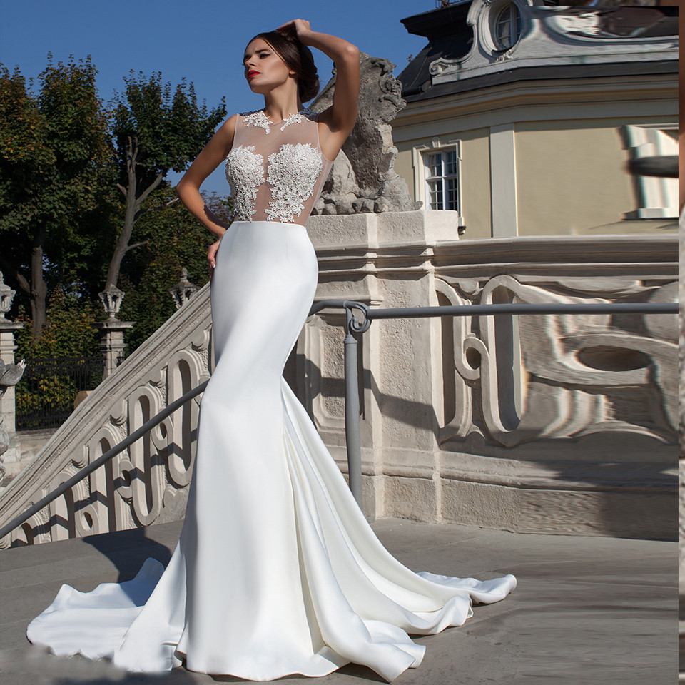 Us 115 49 30 Off Mermaid Weding Dresses Vestidos Sheer Appliques Top Sexy Bridal Lace Dress For Wedding Customized Hs09 In Wedding Dresses From