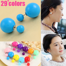 2015 New Jewelry Transparent brincos double side pearl earrings Cheap big earrings for women candy Colors Jelly earrings