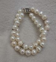 Luck PearlJewellery Genuine Freshwater Pearl Bracelet , Rhinestone Bridal Bracelet,New Free Shipping