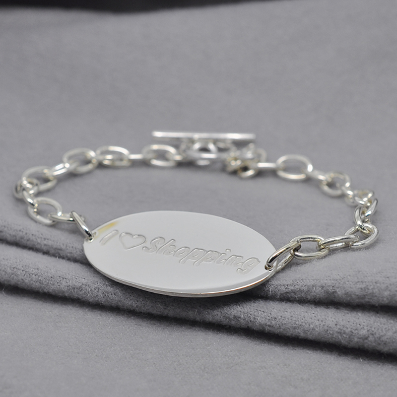 Wholesale Sterling Silver Id Tag Bracelet Engraved Word