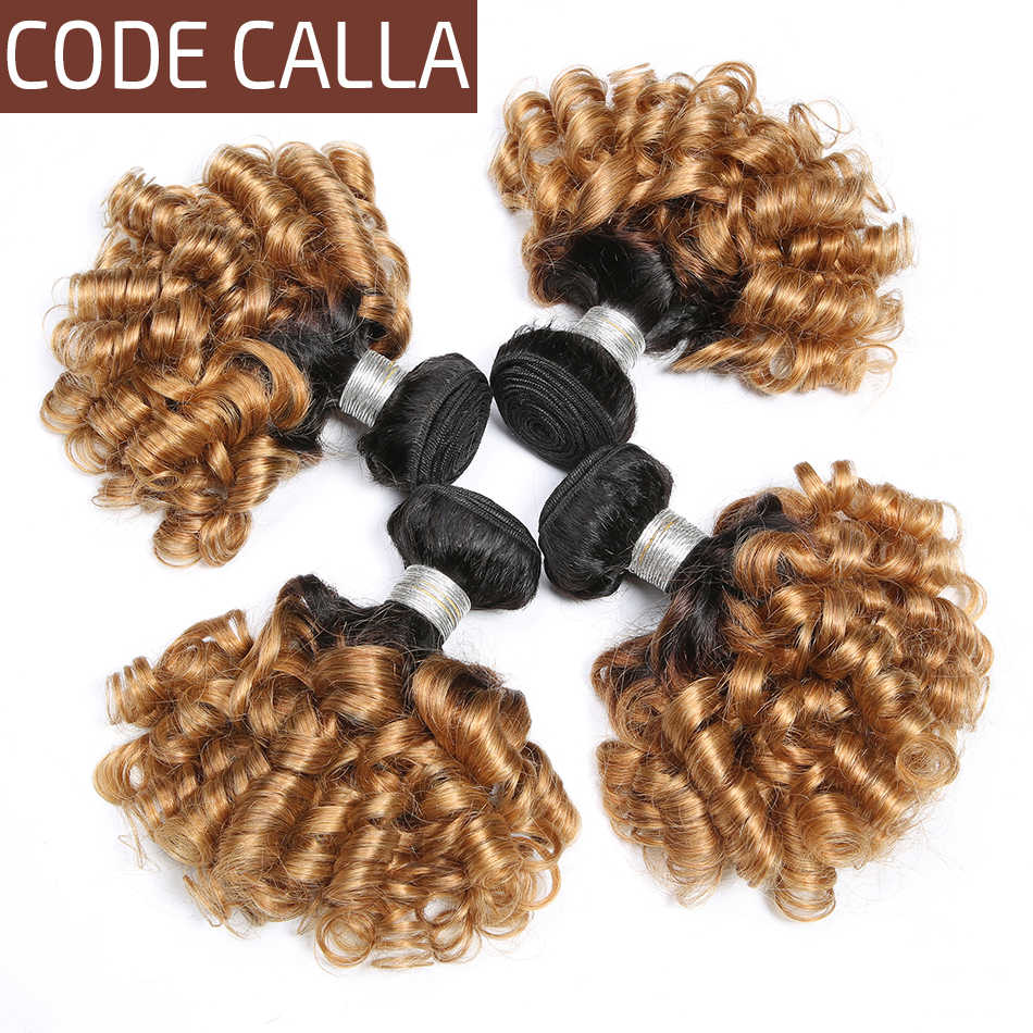 Code Calla Remy Brazilian Bouncy Curly Hair Weaving Ombre Color 3 Bundles 100% Human Hair Extensions Bundles Free Shipping