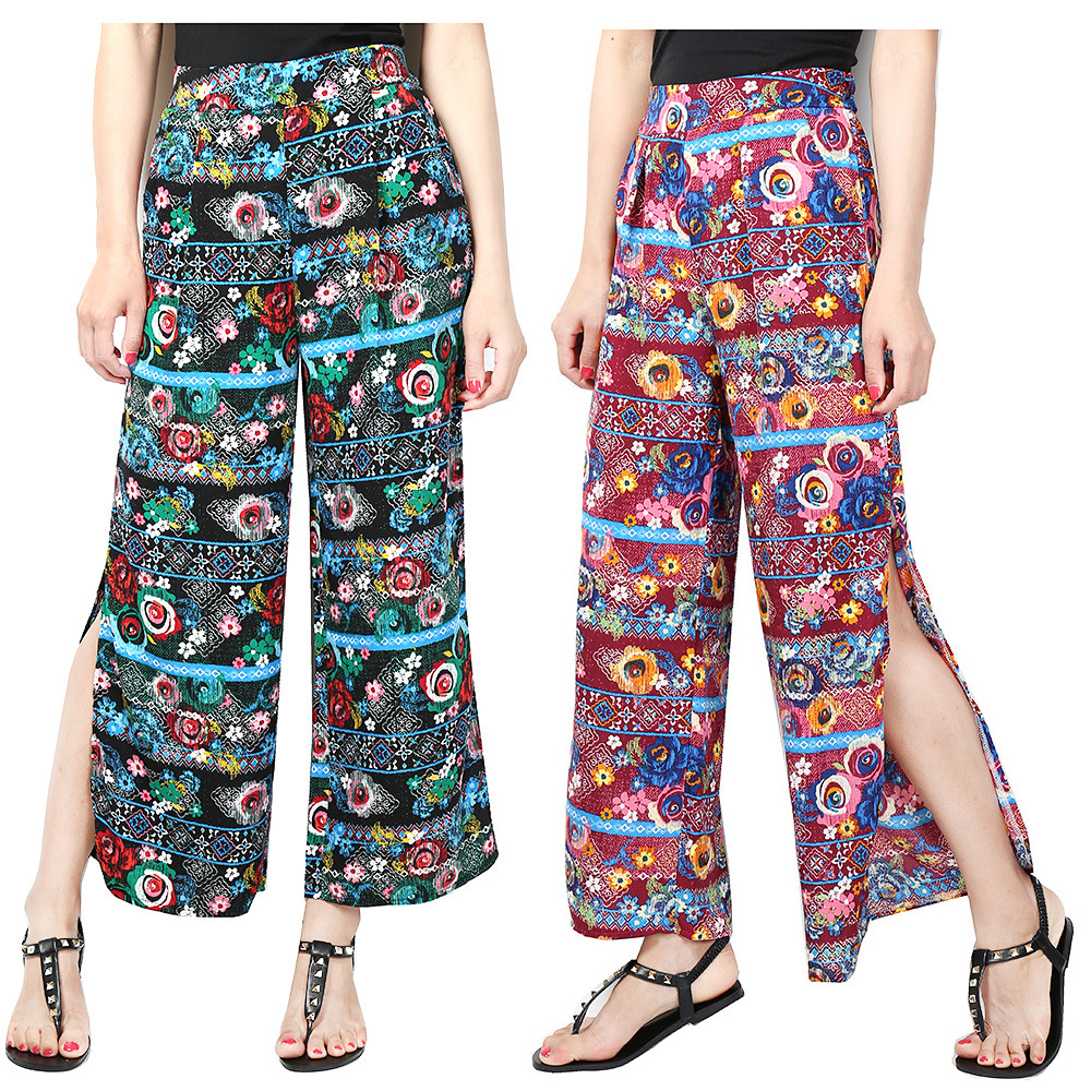 Hoffen Fashion Design Dámské Květinový Tisk Volné Široké Nohavice Kalhoty Neformální Volné Stranové Rozlité Ženy Šifónové kalhoty Pantalones Mujer