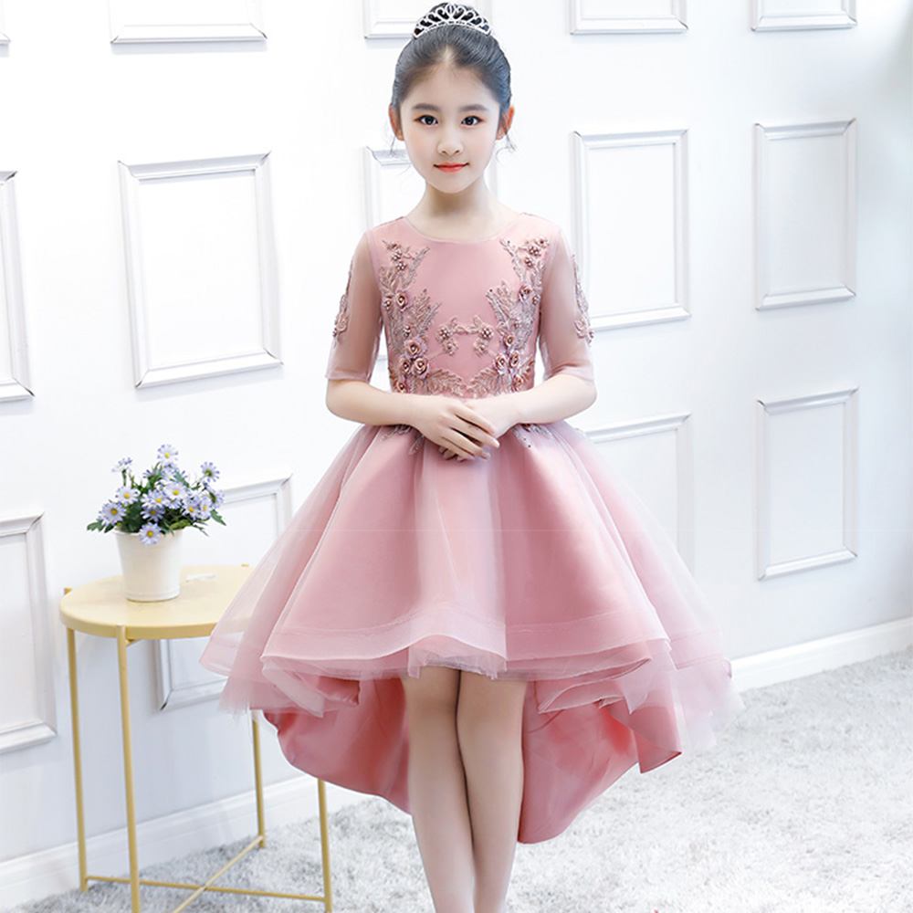 Flower Girl Dresses for Wedding Ball Gown Holy Communion Dress Appliques Half Sleeve Prom Evening Dress Kids Birthday Gowns B174Flower Girl Dresses for Wedding Ball Gown Holy Communion Dress Appliques Half Sleeve Prom Evening Dress Kids Birthday Gowns B174