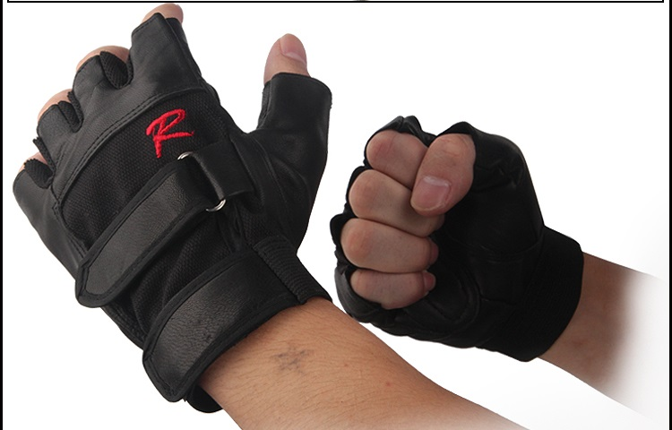 Leather U semi finger gloves outdoor sports protective gloves