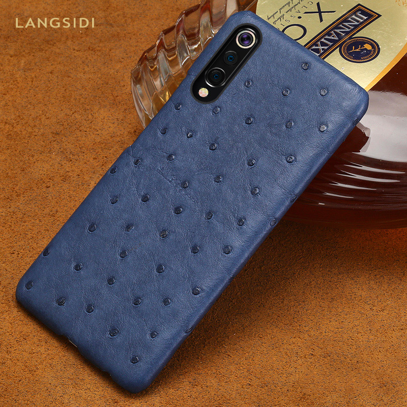 Natural Ostrich Leather Phone Case For Xiaomi Mi 9 9t 10 pro 9 8 Lite A3 cover For Redmi Note 8 pro 8T 7A note 7 5 Plus Luxury