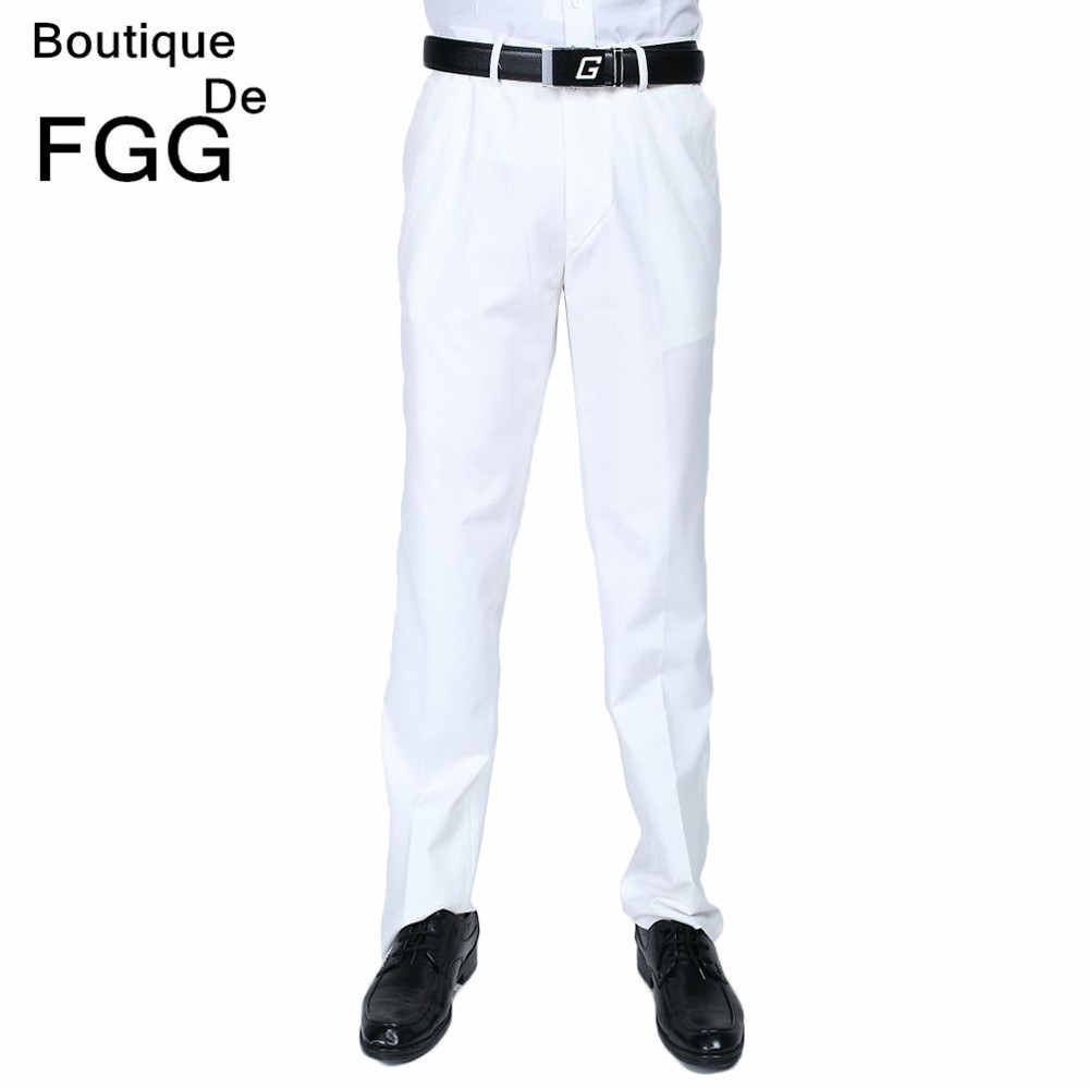 Wedding Dress Straight Groom White Pants Party Prom Men Elastic Waist Business Formal Trousers ...