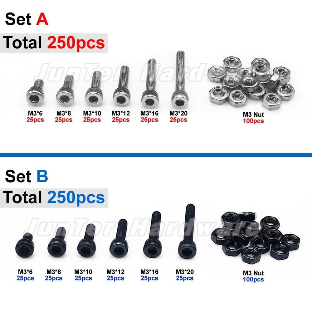 Qty:250pcs M3 Black High Tensile Allen Bolts With Hex Nuts Screws Assortment