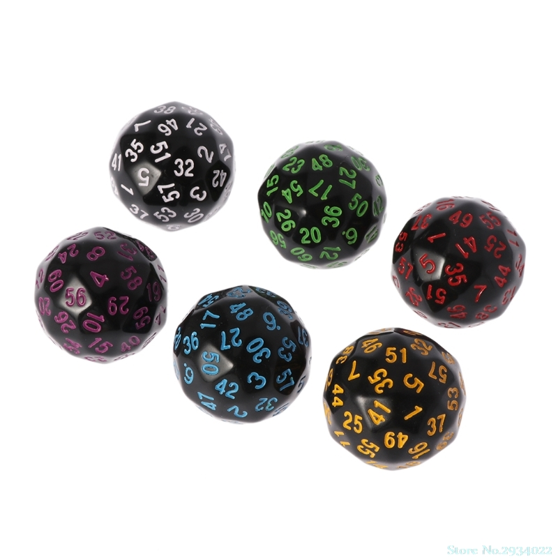 New 6Pcs/Set 60 Sided <font><b>D60</b></font> Polyhedral <font><b>Dice</b></font> For Casino D&D RPG MTG Party Table Board Game Hot Sale Drop Ship image