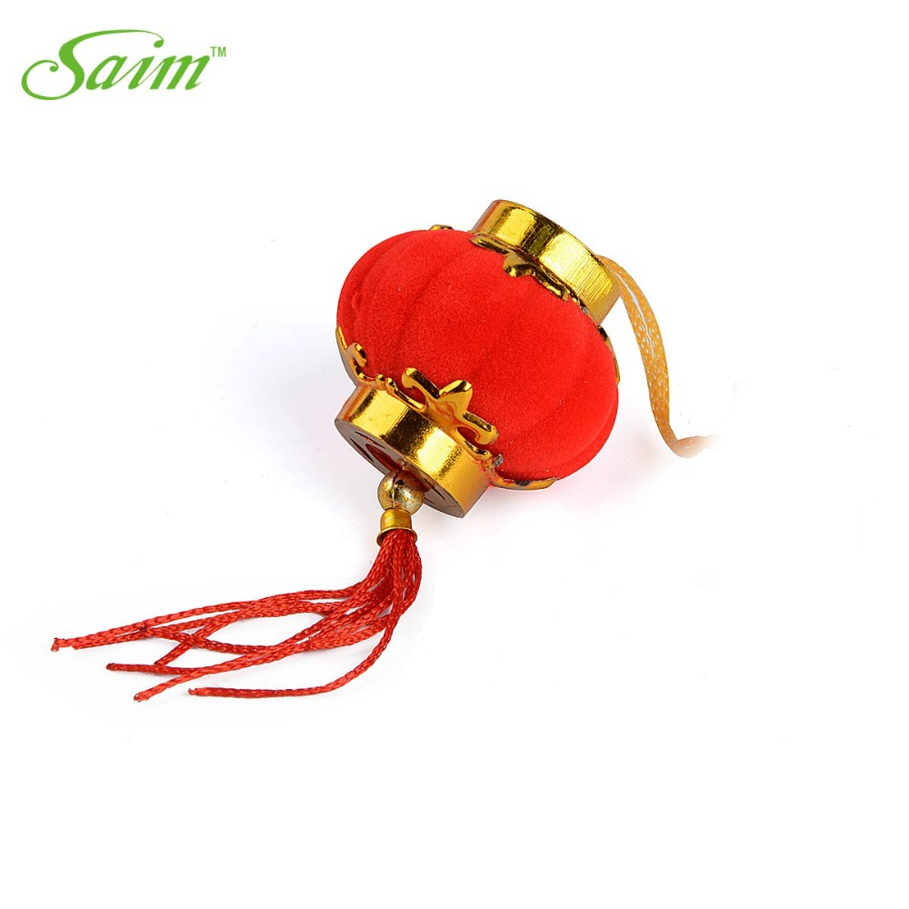 Saim Flocking Small Lantern Hanging New Year Chinese Lanterns Christmas Red Lantern Weeding Holiday Party Festive Deccorations in Lanterns from Home Garden