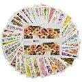 STZ 48 Hojas/set Clavo de la Cubierta Completa de Transferencia de Agua Calcomanías Etiqueta Engomada Del Clavo Envuelve Flores Coloridas Diseño Tatuajes Temporales A049-096
