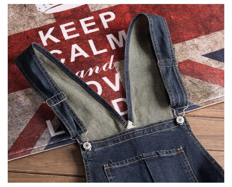 Men Denim Bib Jumpsuit Hip Hop Slim Fit Casual Jean Pants Dark Blue Streetwear Male Suspenders Jumpsuit Size S-2XL (11)