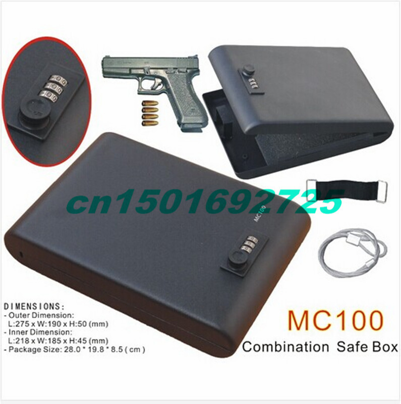 Wholesale - MC100 Portable 3-Digit Combination Lock Mini Car Gun Safe Box/Vault with one year warranty