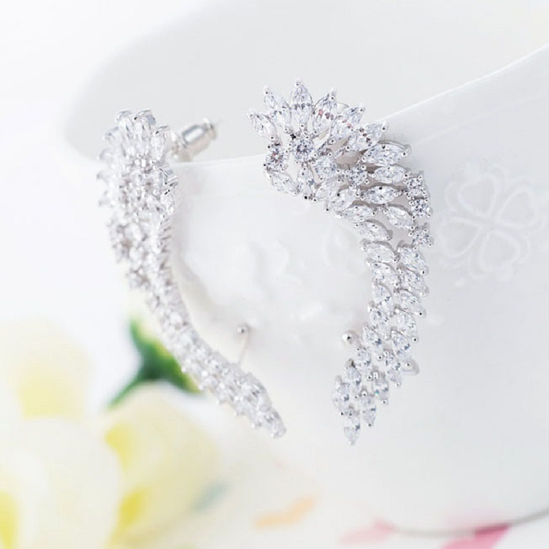 XIAGAO New Design Stud Earrings For Women Angle Wings Special Micro Princess-cut CZ Fashion Prom Party Jewelry