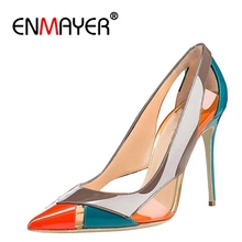 ENMAYER 2018 Women Summer Mixed Colors High Heels Pumps Shoes Woman Pointed Toe Stiletto Heels Cut-outs Party Ladies Shoes CR702 new women pumps fashion cut outs galdiator pointed toe high heels shoes woman party wedding ladies ankle strap shoes size 35 40