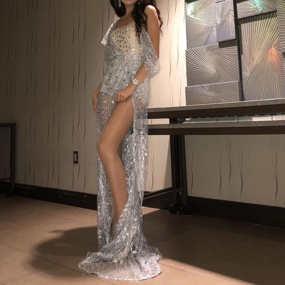 Image 2 - JillPeri Women Strapless Sequin Dress Long Luxury Bling Stars  Silver Gown Leg Open Outfit Party Wear Sexy Bodysuit Maxi DressDresses