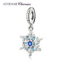 ATHENAIE 925 Sterling Silver Pave Blue Crystals CZ Crystalized Snowflake Pendant Drops Charms Beads For Women Gift Mother's Day