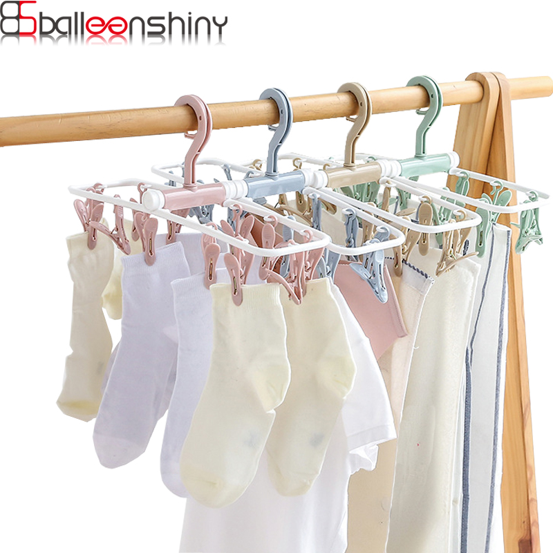 BalleenShiny 12 Clip Portable Foldable Balcony Multi - Purpose Windproof Underwear Drying Clothes Hangers Plastic Storage Rack
