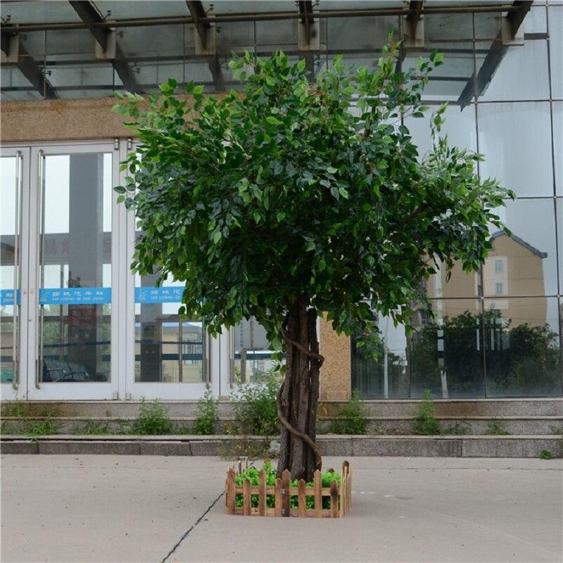 Artificial ficus microcarpa artificial grande árvore árvores falsas grande planta decoração do lobby do hotel composição