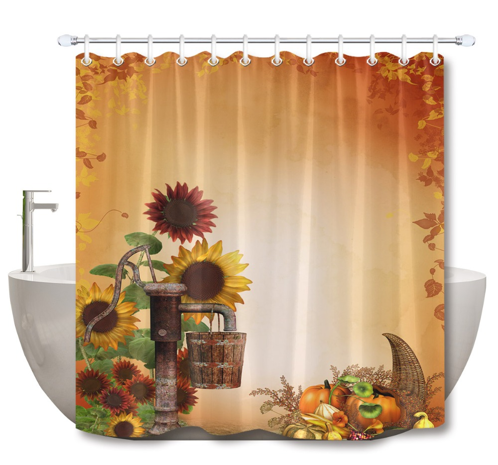 Happy Thanksgiving Day Fall Harvest Turkey Shower Curtain Liner Bathroom Decor