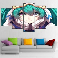 With Framed 5 Piece Big Eyes Music Anime Girl Vocaloid Poster Canvas Printing Type Room Home Decor Wall Artwork Modular Pictures