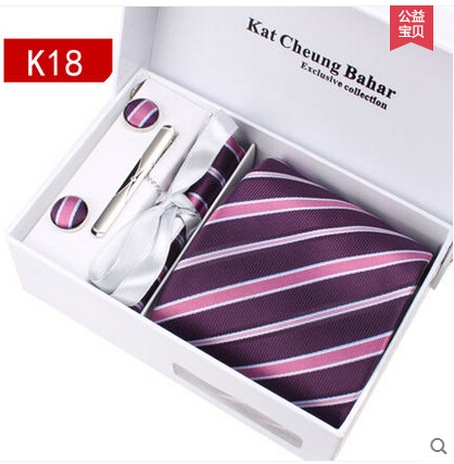 Ikepeibao Fashion Ties Purple Pink Striped Necktie Set Cufflink Hanky Cheap Gravata Hombre Jacquard Ties For Men Business
