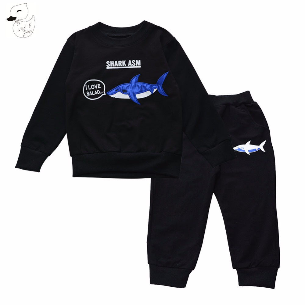 BINIDUCKLING 2017 New Baby Boys Sets Clothing Set Children Hoodies+Pants Clothes Boys  Sets Autumn 100% cotton fish pattern suit