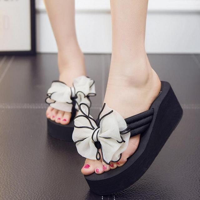 cbaa77964746 35-42 plus size women sandals brand designer big bow flip flops sweet lace  flower beach sandals women summer wedges shoes y5