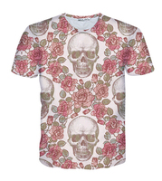 2016 new summer Women/Men fashion t shirt 3D print Red roses and skeletons t shirt top Clothes harajuku casual crewneck t shirt