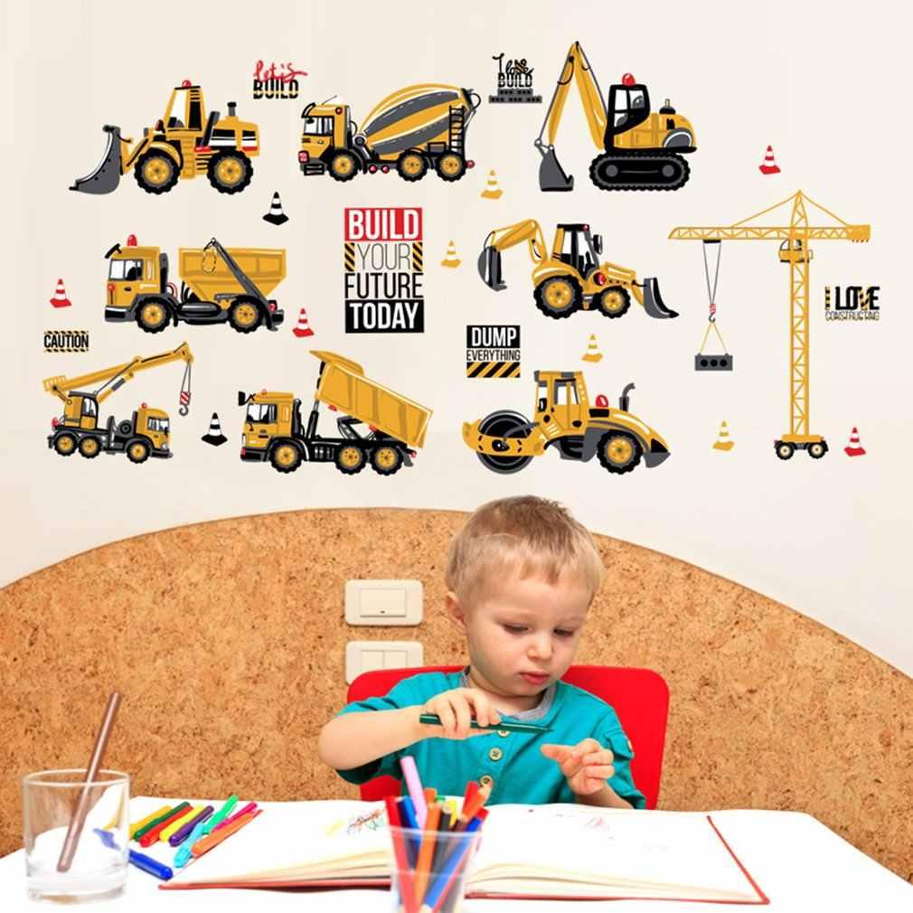 3D ملصقات جدار غرفة نوم الأطفال جرار شاحنة خلفيات لغرفة المعيشة المطبخ التلفزيون خلفية ديكور الشارات الفن صائق ملصق