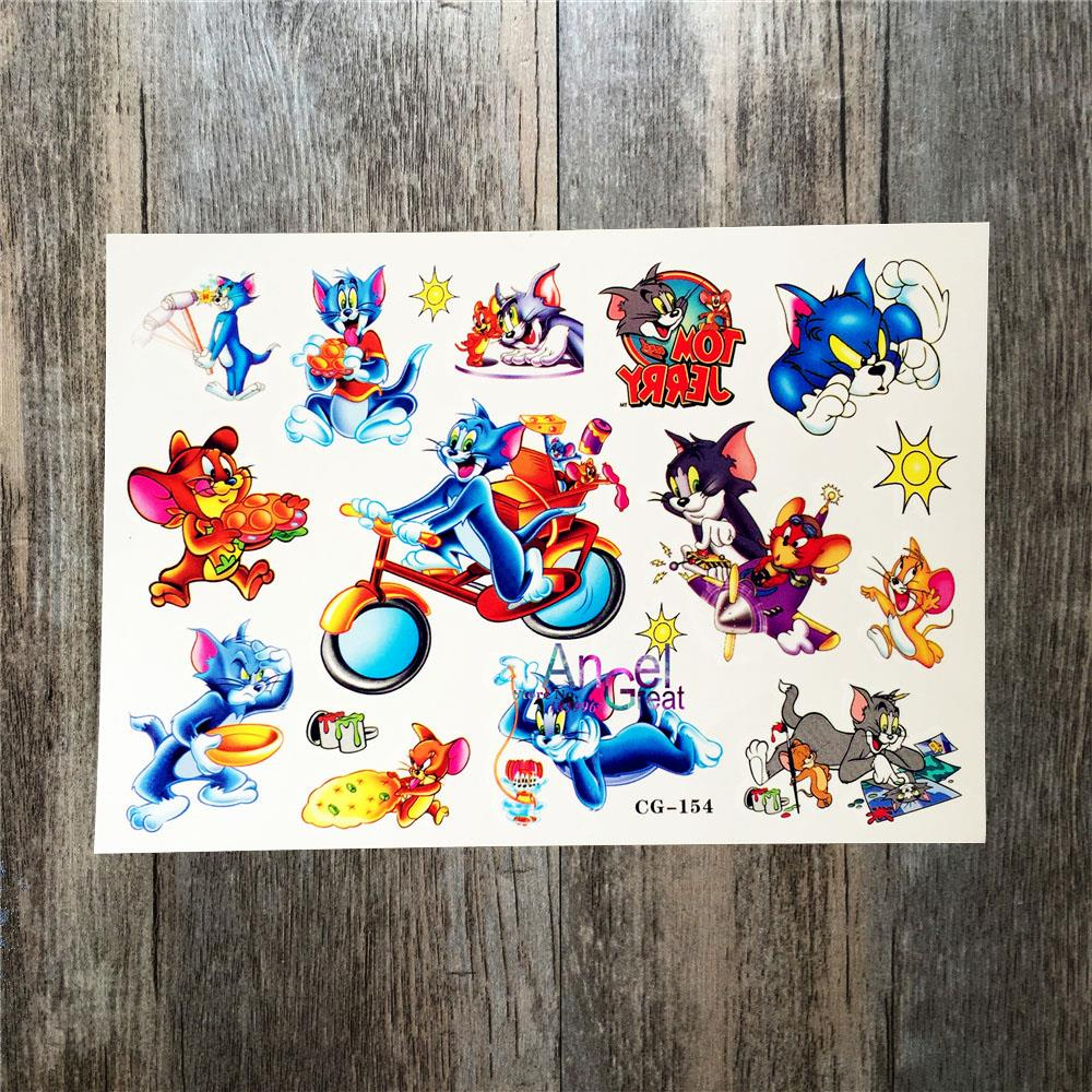 e531178df DIY Tom Cat and Jerry Mouse Temporary Tattoo Sticker ACG154 Child  Waterproof Cartoon 3D Flash Tattoo Fake Tatoo Summer Style