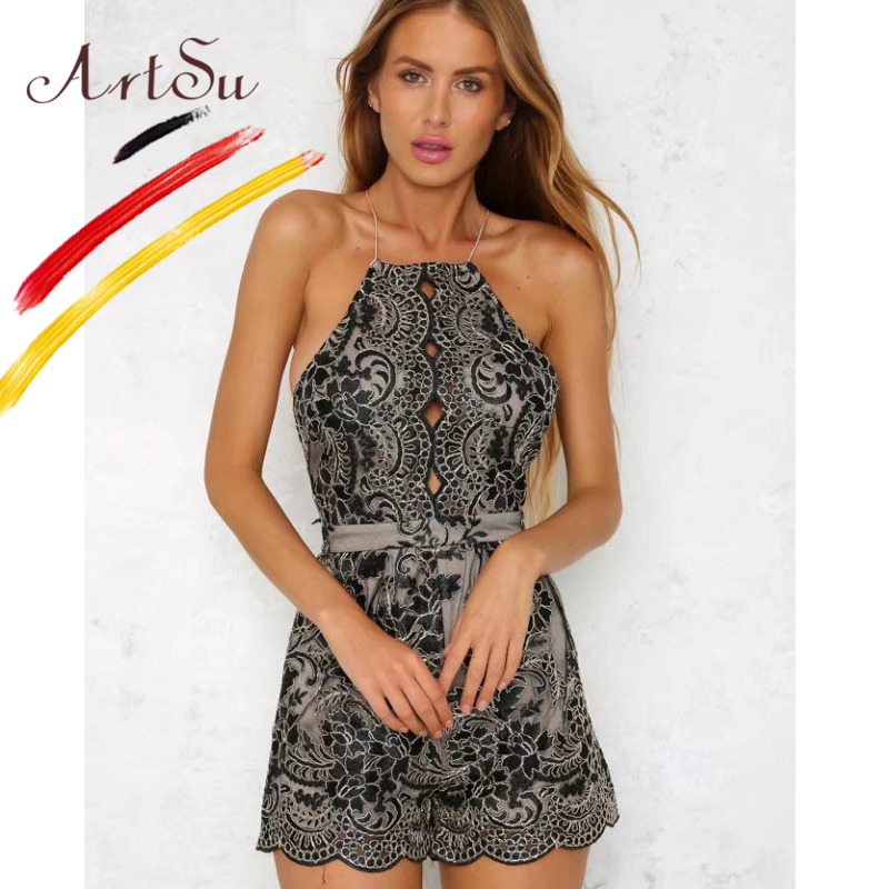 ArtSu One Piece Women Jumpsuit Sexy Spaghetti Strap Floral Lace Playsuit Rompers Fashion Lace Up Backless Slim Overall ASDR20246