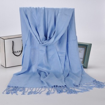 Blue New tassel winter scarves for women shawls and wraps lady pashmina solid long cashmere head scarves hijab stoles