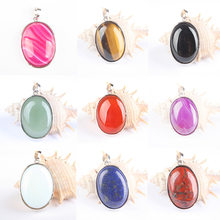 24x32MM Hot Sale!Fashion Oval Tiger eye Onyx Opal White Howlite Stone Carnelian Crystal Druzy Charm Pendant For Best Friend Gift(China)