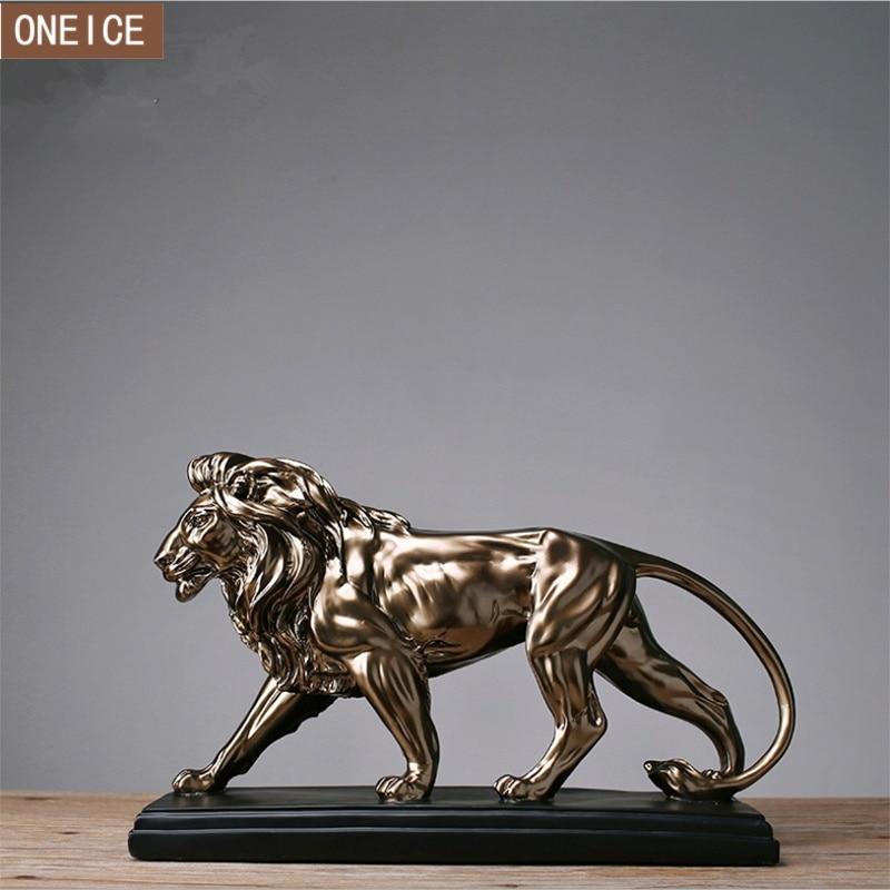 Escultura de León ferocioso africano estatua de resina dominación animal León decoración del hogar Accesorios estatua de regalo artesanal-in Estatuas y esculturas from Hogar y Mascotas    1