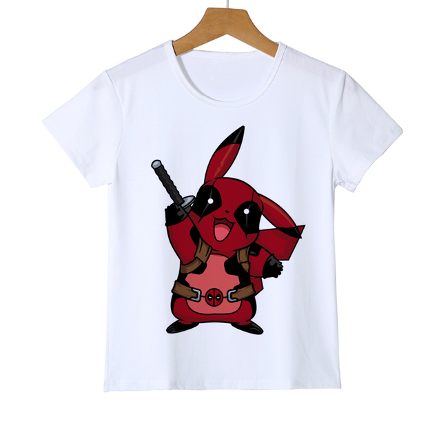 e4d2e94a9 Newest Deadpool Pikachu Kid T shirt 3D Cartoon Fashion Pokemon Design tops  Printed Boy Girl Baby