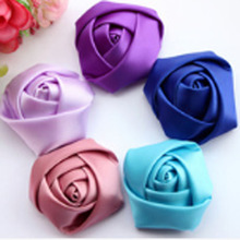 150pcs/lot 45-50mm Rolled Rosette fabric rose Flowers Satin polyester ribbon rolled rosette flower women girls hair accessories