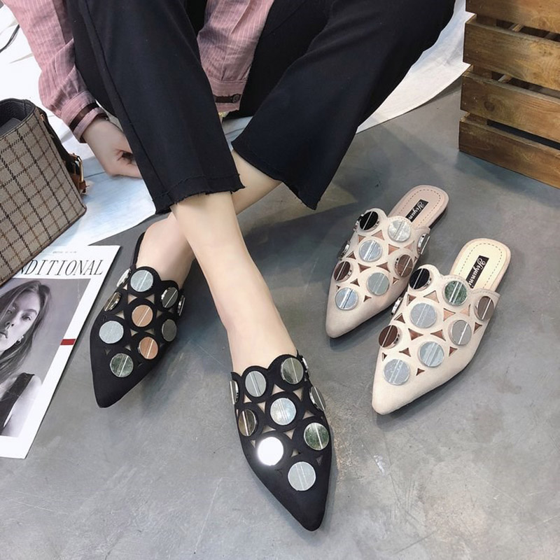 size 35-39 metal bling slippers Flat big girls shoes lady openwork sandals  summer beach shoes 110c2db9cbd3