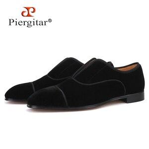 Мужская бархатная обувь Piergitar, черные Лоферы ручной работы в английском стиле с кожаной стелькой и красной подошвой, 2019