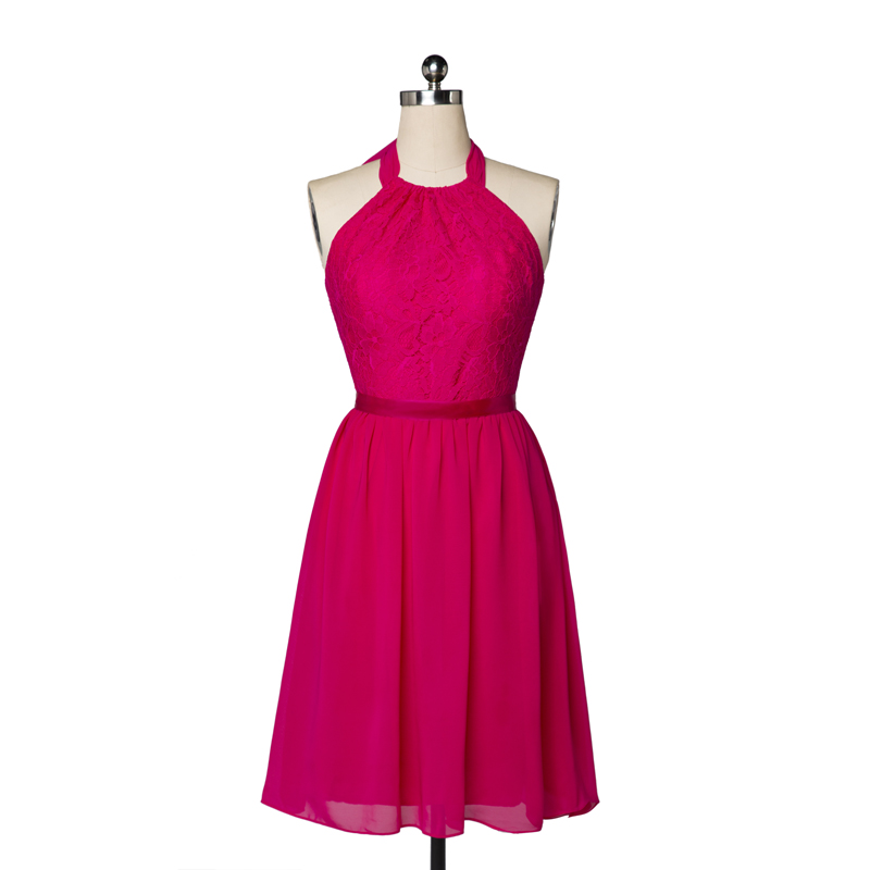 Elegant Rose Red Lace Backless Short Evening Bridesmaid Dress