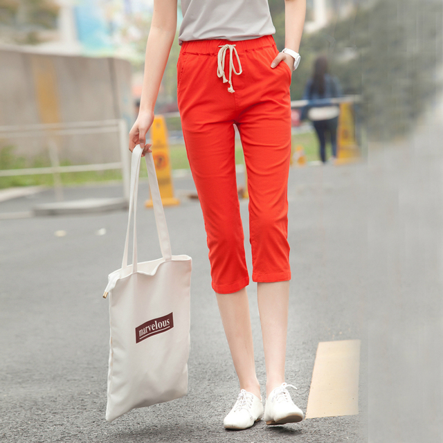fafc6d44f38 2017 Cotton and Linen Women Capri Pants Summer Candy Color Pencil Trousers  Tie Rope Elastic Waist linen Casual Pants