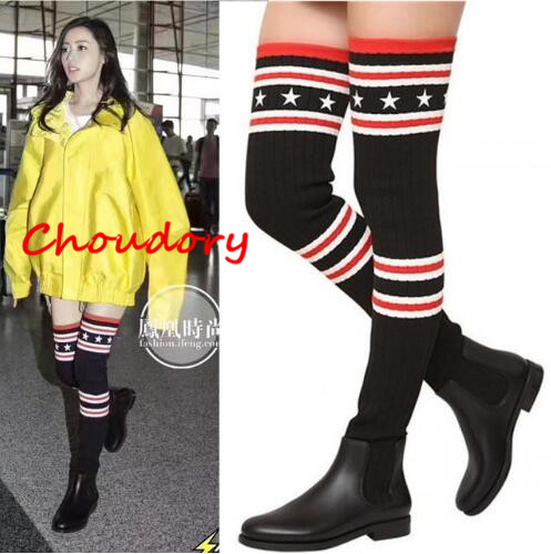 Choudor New Fashion Celebrity Style Tight High Boot Striped Over The Knee Sock Boot Leather Boot For Women Autumn Boots Stretchy