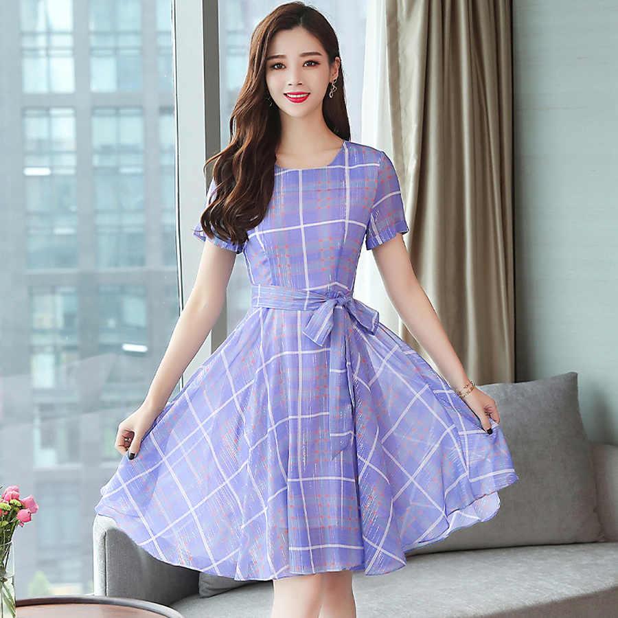 2019 корейский Винтаж плюс размеры Boho миди платья для женщин новые летние плед шифон пляжный сарафан элегантный для короткий рукавечерние