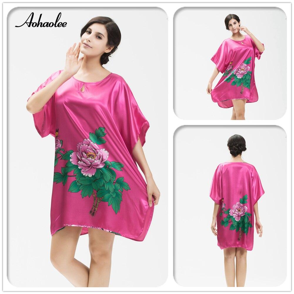 Ladies Silk Satin Nightgown Dress Women s Flower Pattern Night Gown Robe  Sleepwear Bathrobes Nightwear Dress Women s Sleepwear-in Nightgowns    Sleepshirts ... 9576a78a2e1d
