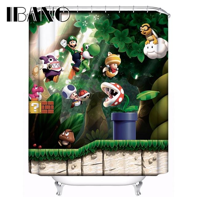Super Mario Shower Curtain Pattern Customized Bath Waterproof Polyester Fabric 180x180cm For Bathroom