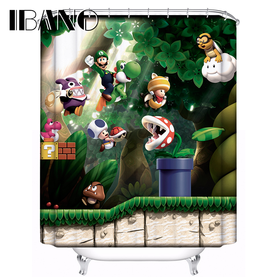 Super Mario Shower Curtain Pattern Customized Bath Curtain Waterproof Polyester Fabric 180x180cm Shower Curtain For Bathroom